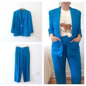 Lauren Ralph Lauren Jackets & Coats - Vtg Blue Silk RALPH LAUREN Suit Jacket Pants Set S